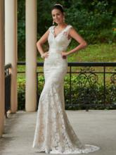 Sashes Backless Sheath Lace Wedding Dress