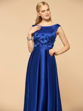 Scoop Neck Flowers High Low Bridesmaid Dress