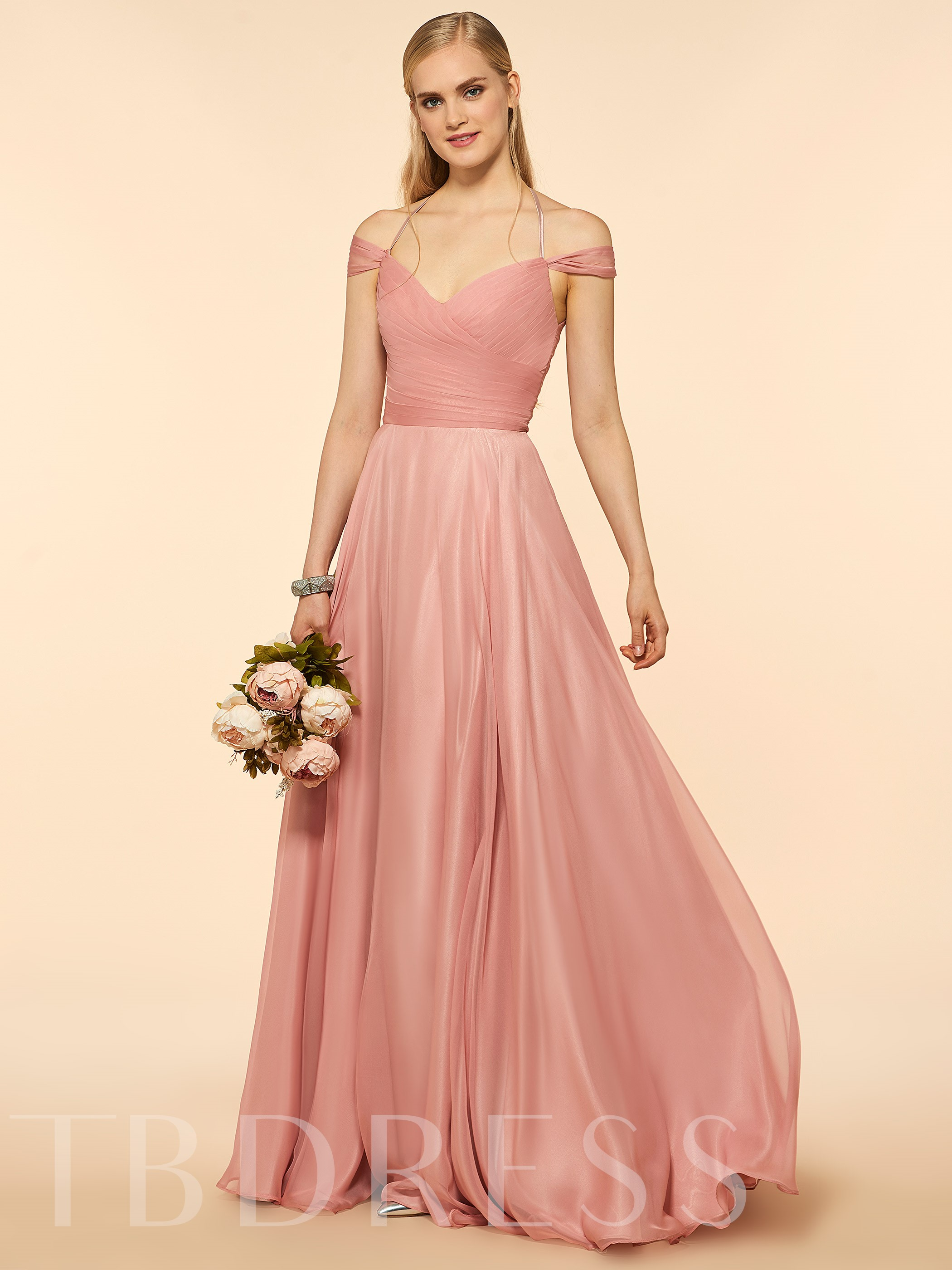 Image of Off The Shoulder Pleats Long Bridesmaid Dress