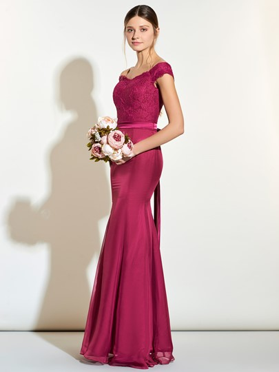 Off-The-Shoulder Lace Zipper-Up Mermaid Bridesmaid Dress