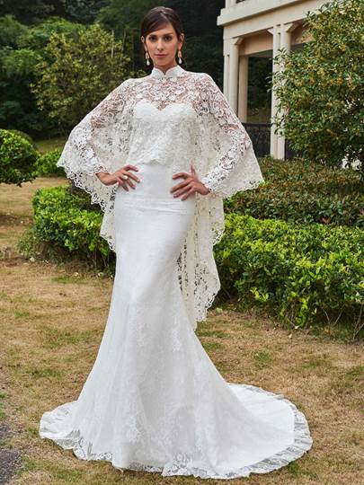 High Neck Lace Court Train Mermaid Wedding Dress