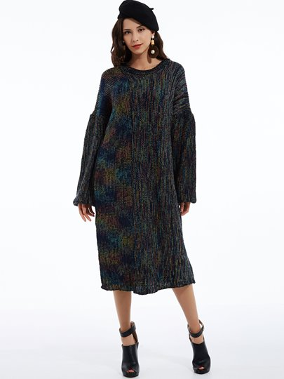 Mottled Lantern Sleeves Women's Sweater Dress
