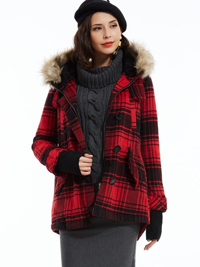 Straight Single-Breasted Plaid Women's Jacket