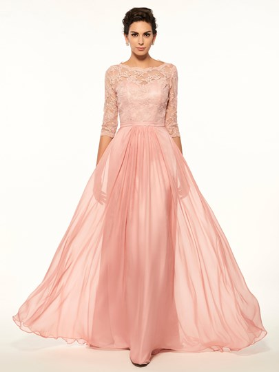 Buttoned Lace Half Sleeves Mother Of The Bride Dress