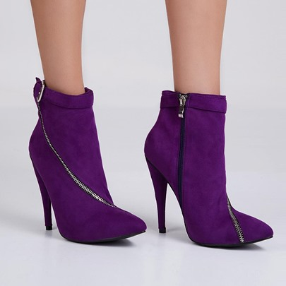 Ultra Violet Pantone Color of The Year Zipper Suede Ankle Women's Boots