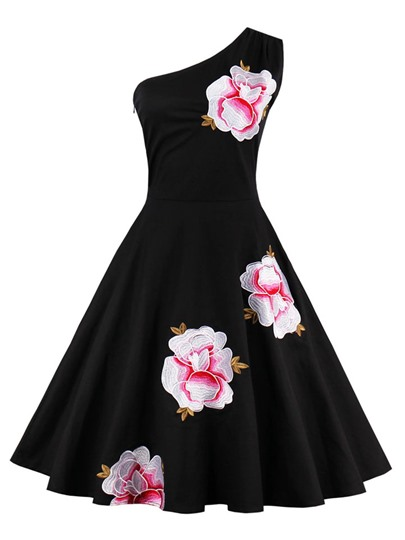 Black One Shoulder Printed Women's Day Dress