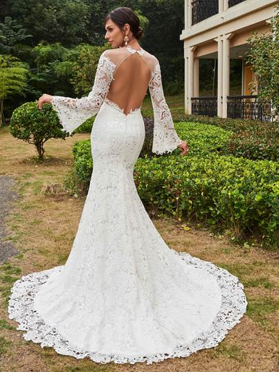 Illusion Neckline Long Sleeves Mermaid Lace Wedding Dress