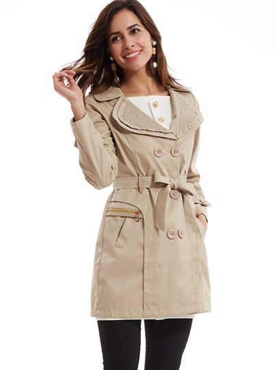 Double-Breasted Pockets Straight Women's Trench Coat