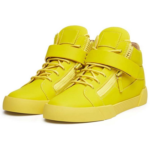 Round Toe High-Cut Upper Side Zipper Patchwork Men's Sneakers