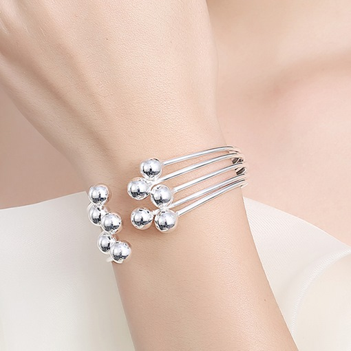 Five Beads Design Silver Plated Opening Bracelet