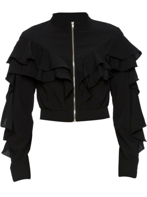 Ruched Plain Stand Collar Zipper Women's Jacket