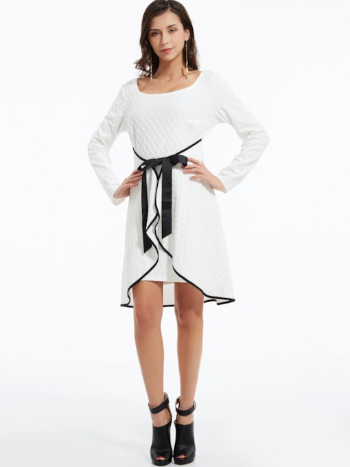Asymmetrical Bowknot Plain Women's Long Sleeve Dress