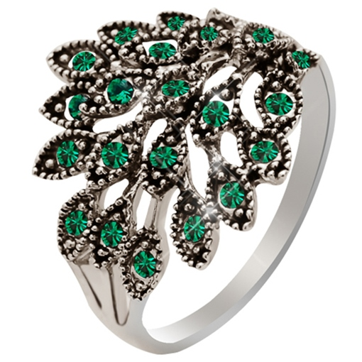 Green Rhinestone Inlaid Peacock Tail Design Index Finger Ring