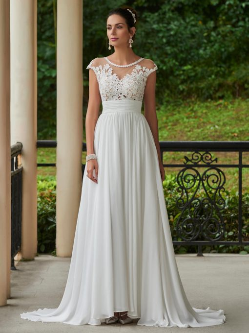 Scoop Neck Cap Sleeve Lace Appliques Wedding Dress