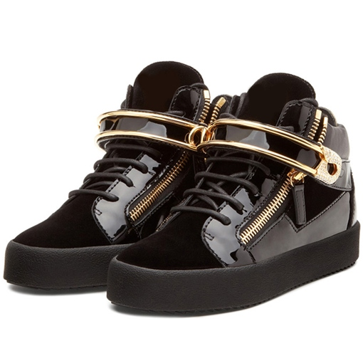 Round Toe High-Cut Upper Cross Strap Buckle Men's Sneakers