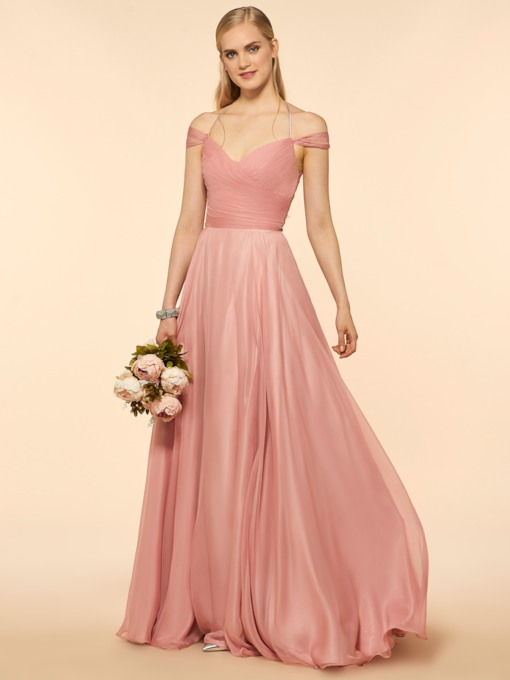 Off The Shoulder Pleats Long Bridesmaid Dress