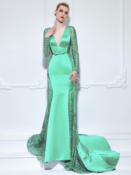 Long Sleeves Hollow Bowknot Mermaid Sequins Evening Dress