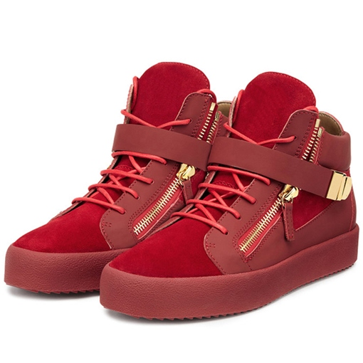 Patchwork Side Zipper Round Toe High-Cut Upper Men's Sneakers