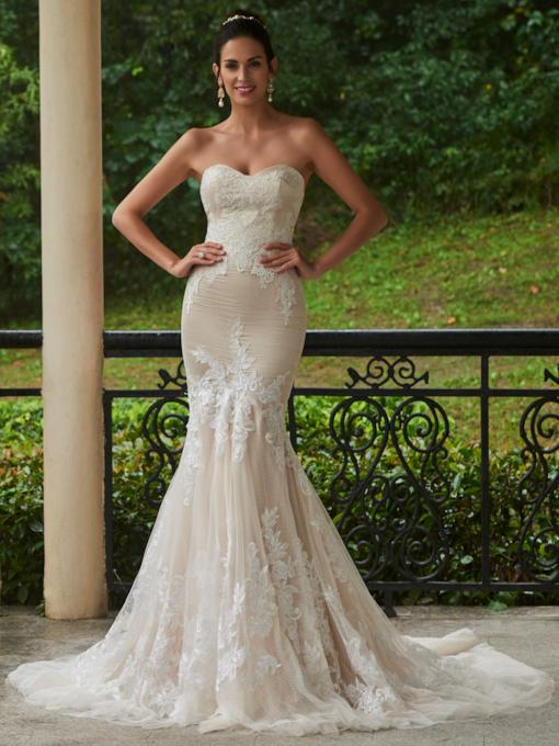 Court Train Sweetheart Appliques Mermaid Wedding Dress
