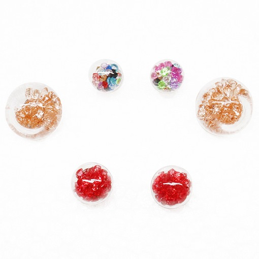 Colorful Rhinestone Decorated Three Pieces Earrings