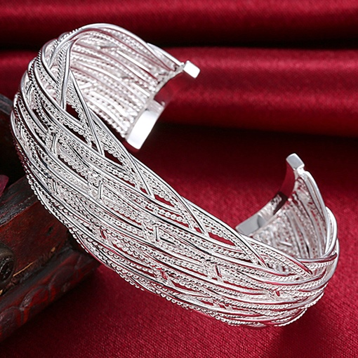 Silver Plated Mesh Wide Opening Bracelet