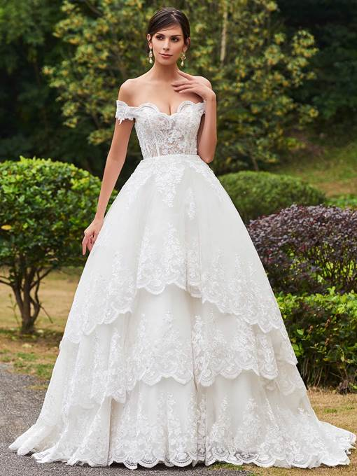 Ball Gown Tiered Appliques Wedding Dress