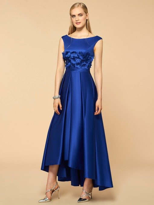 Scoop Flower High Low A-Line Bridesmaid Dress