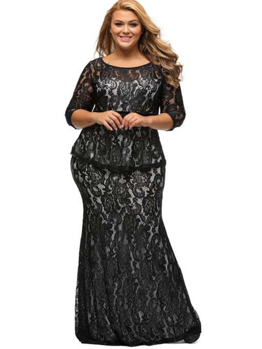 Plus Size Half Sleeve Double-Layered Women's Lace Dress