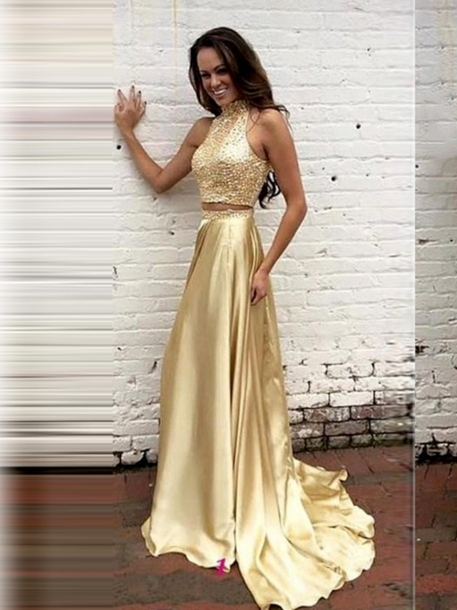 High Neck A-Line Pearls Sequins Evening Dress