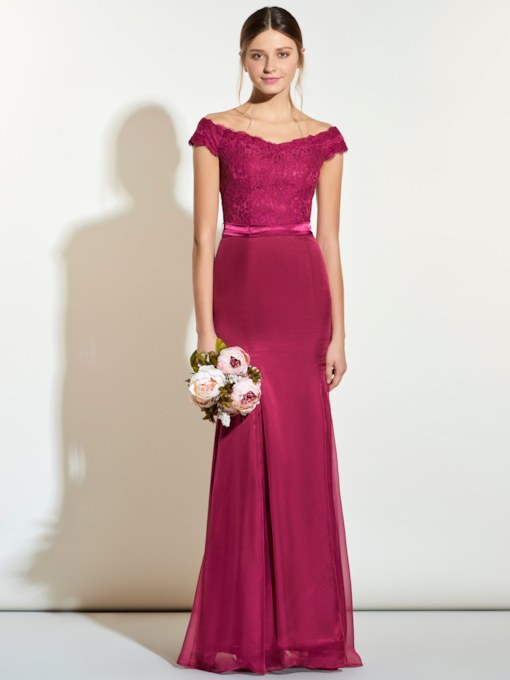 Off-The-Shoulder Lace Sashes Mermaid Bridesmaid Dress
