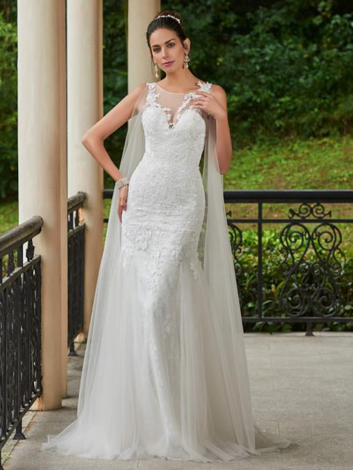 Scoop Neck Appliques Button Floor-Length Sheath Wedding Dress