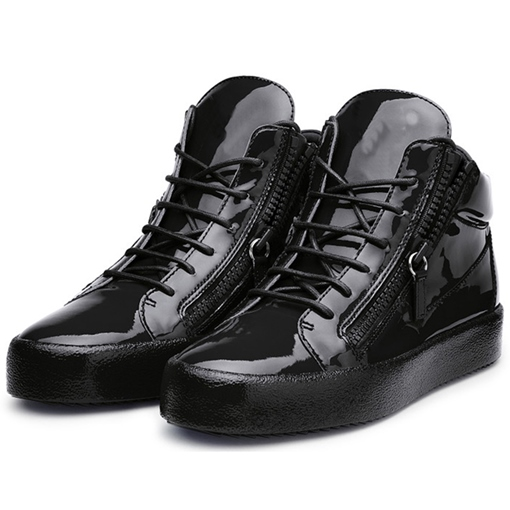 Side Zipper Round Toe Lace-Up Men's Sneakers