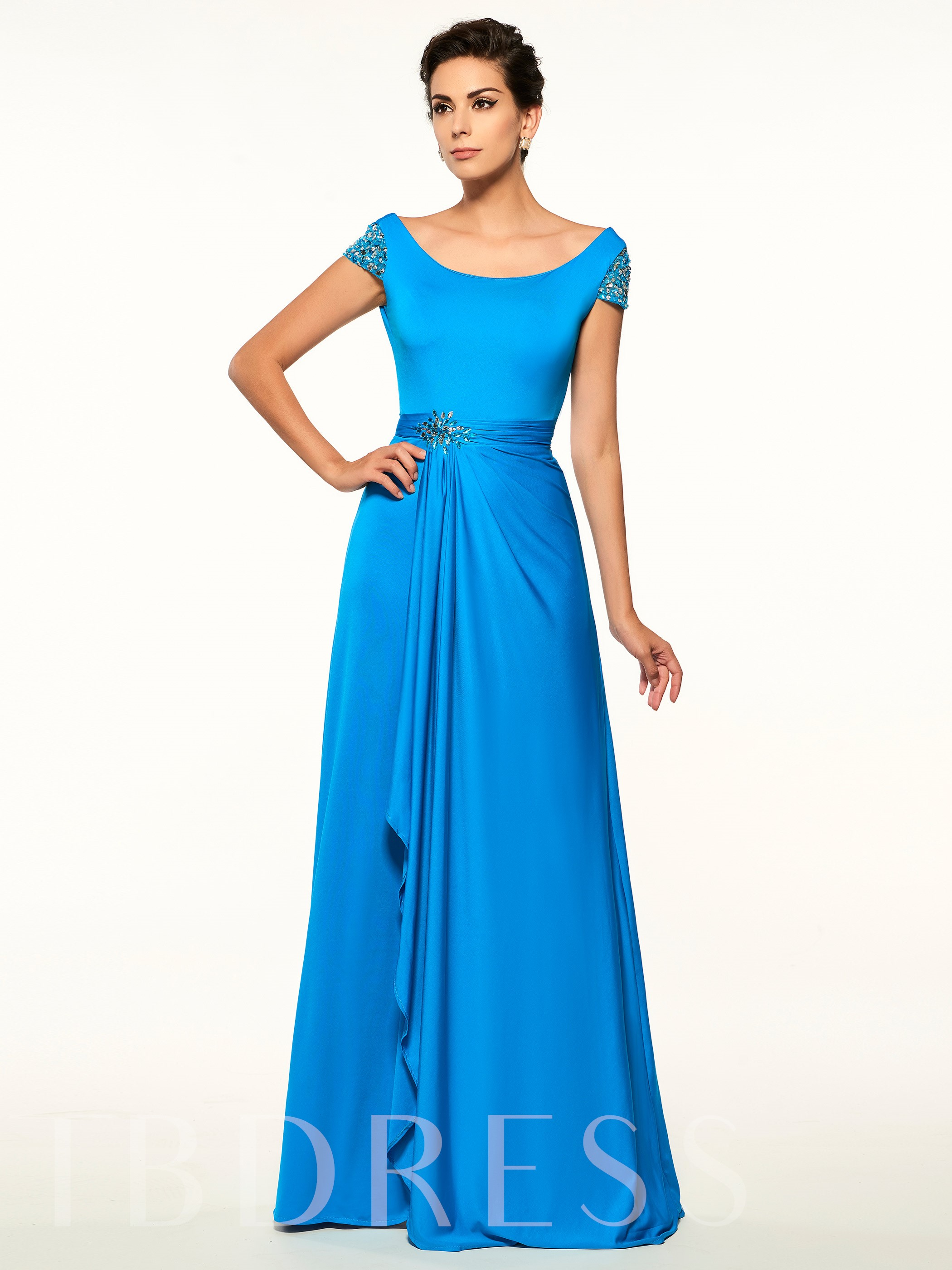 Image of Cap Sleeves Backless A Line Long Mother Of The Bride Dress