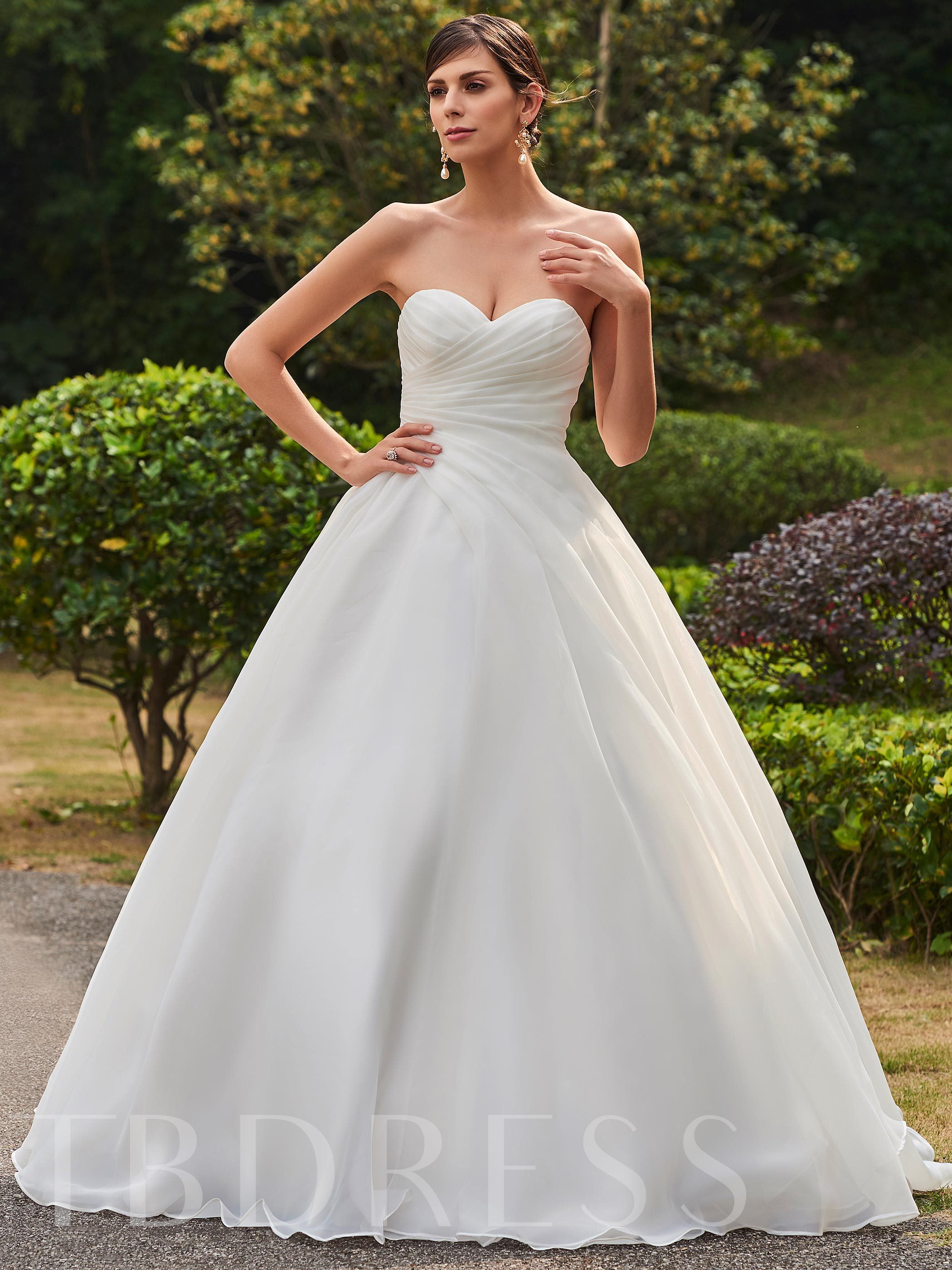 Ruched Zipper-Up Floor-Length Ball Gown Wedding Dress 12699409