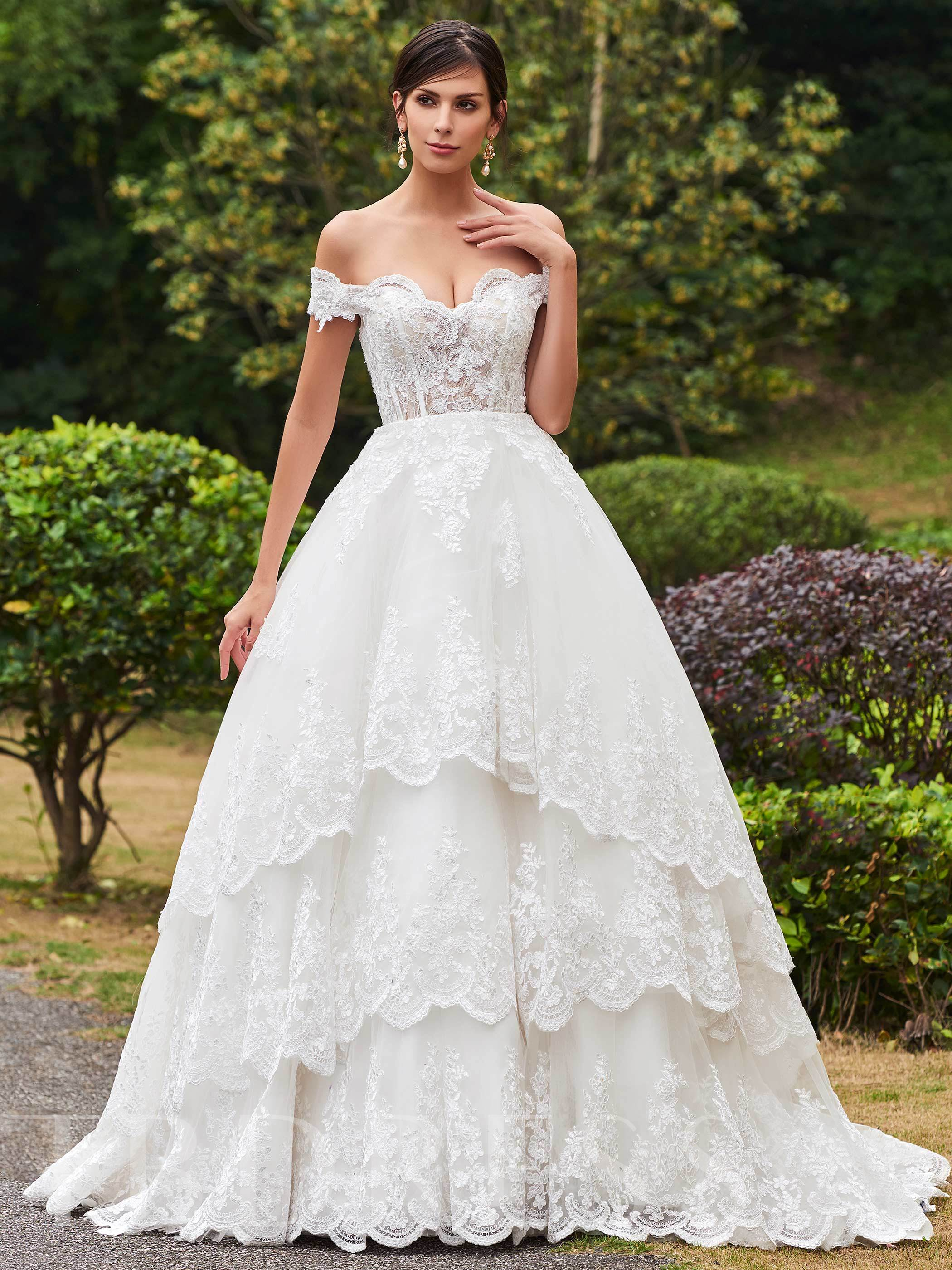 Image of Ball Gown Tiered Appliques Wedding Dress