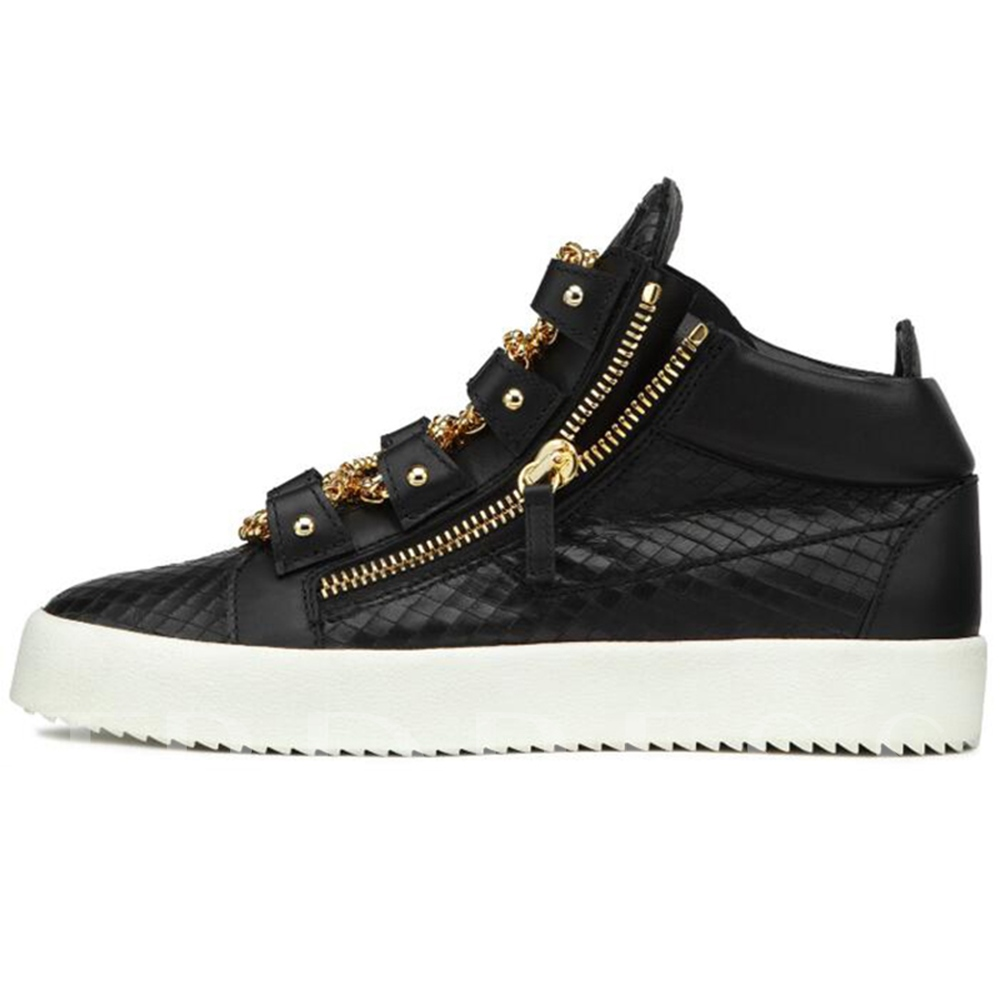 Round Toe Chain Zipper Sneakers