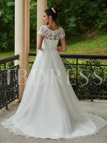 Scoop Neck Appliques Beading Short Sleeves Court Train Wedding Dress