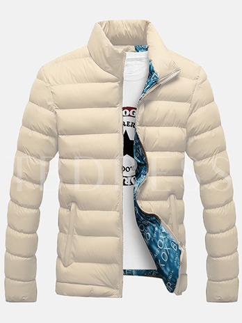 Men's Floral Printed Lined Coat with Solid Color