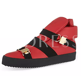 Buckle Round Toe Elastic Band Men's Sneakers