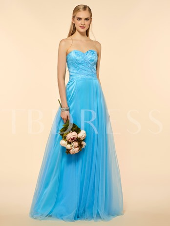 Sweetheart Lace A-Line Floor-Length Bridesmaid Dress