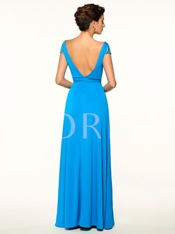 Cap Sleeves Backless A Line Long Mother Of The Bride Dress