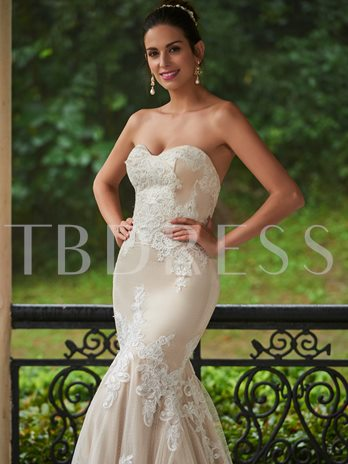 Mermaid Sweetheart Appliques Wedding Dress