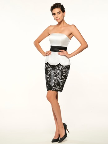 Strapless Lace Sheath Short Mother Of The Bride Dress
