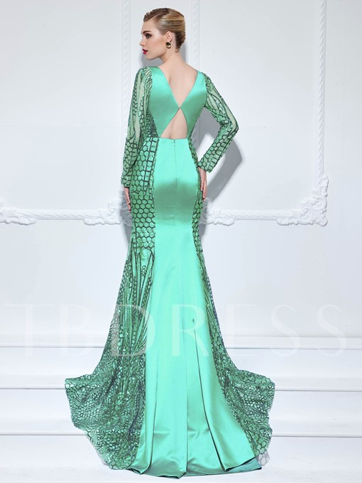 Bowknot Hollow Sashes Sequins Evening Dress