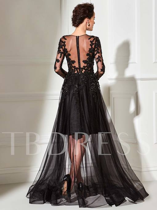 Beaded A-Line Jewel Neck Appliques Long Evening Dress