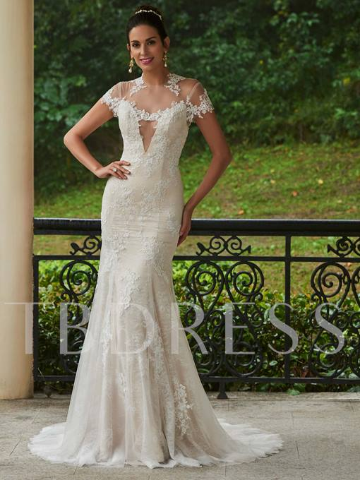 Jewel Neck Cap Sleeves Lace Appliques Mermaid Wedding Dress