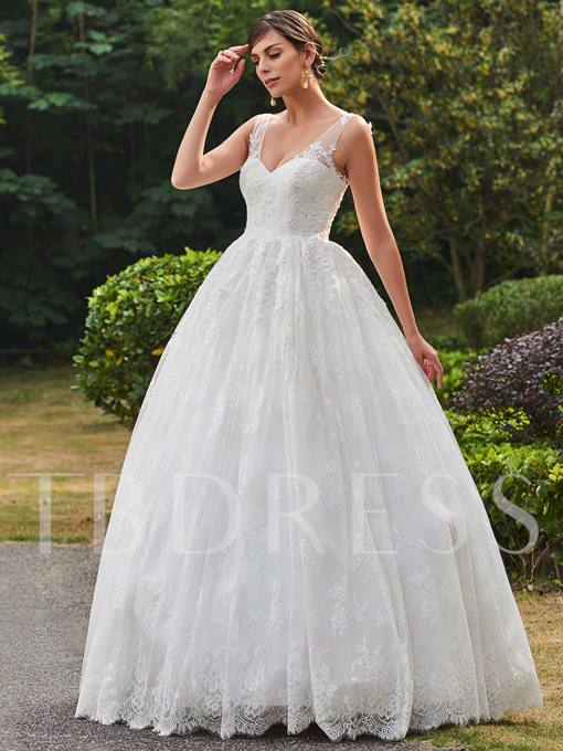 V-Neck Straps Lace Zipper-Up Floor-Length Ball Gown Wedding Dress