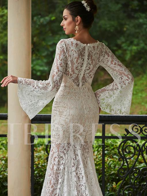 Long Sleeves Lace Zipper-Up Court Train Mermaid Wedding Dress