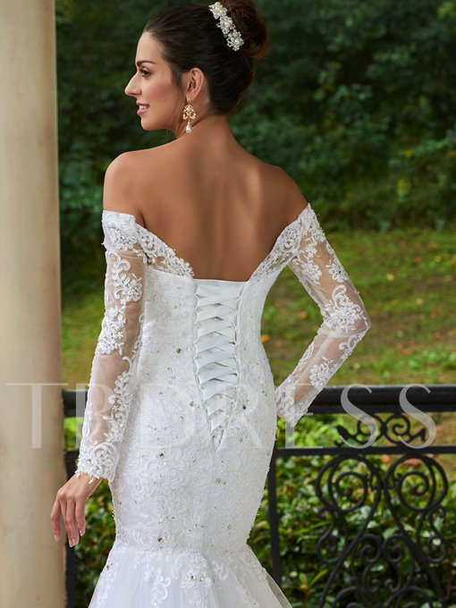 Long Sleeves Appliques Mermaid Floor-Length Wedding Dress