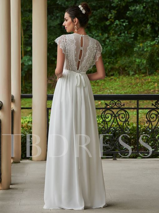V-Neck A-Line Wedding Dress With Cap Sleeves